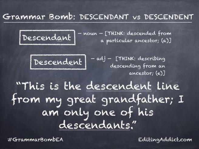 Grammar Bomb11-13.001_Descendant vs Descendent