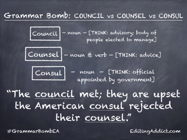 Grammar Bomb14 16.003_Council vs Counsel vs Consul