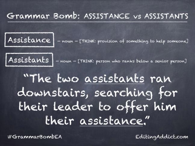 Grammar Bomb1724.002_Assistance vs Assistants