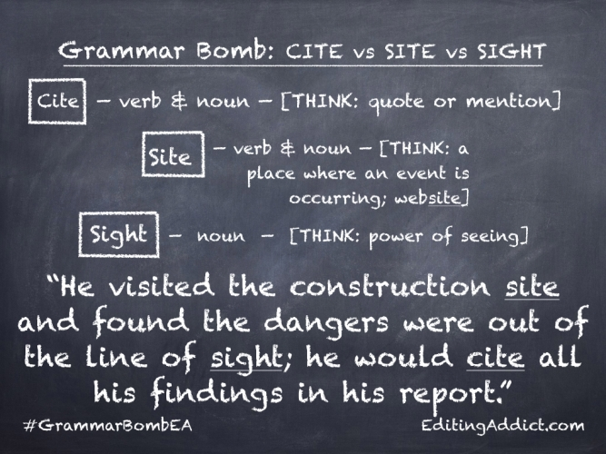 Grammar Bomb27.003_Cite vs Site vs Sight