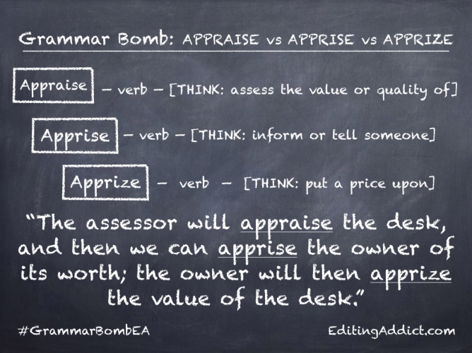 Grammar Bomb34.001_Appraise vs Apprise vs Apprize
