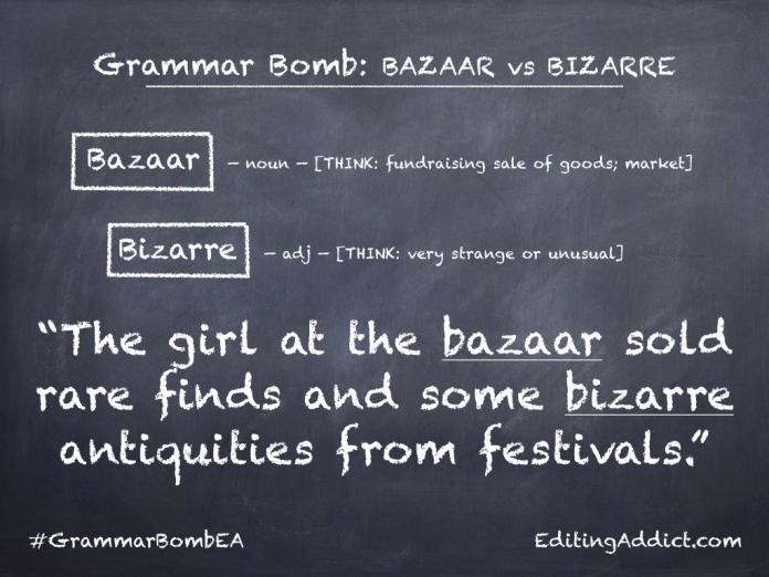 Grammar Bomb38.001_Bazaar vs Bizarre