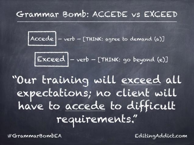 Grammar Bomb4.001_Accede vs Exceed