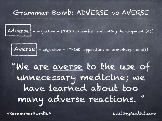 Grammar Bomb6.001_Adverse vs Averse