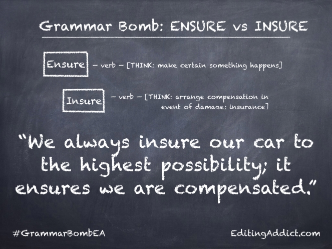 Grammar Bomb8.001_Ensure vs Insure