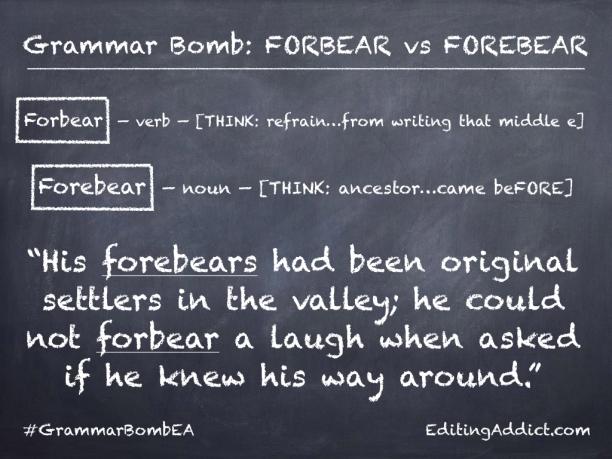Grammar Bomb_2.002_Forbear vs Forebear